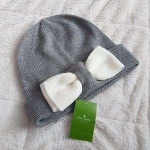 New Kate Spade New York Gray With White Bow Beanie